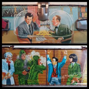 "The top and bottom of the lunch box respectively. The Chief not looking at all like Ed Platt is probably the only discrepancy, but that's a trend among collectibles. Vito Scotti's character in ""Mr. Big"" makes a cameo in the bottom scene."