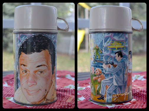 The graphics on the Get Smart thermos. This one has a replacement liner and lid.
