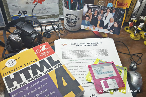 Where it all began - An HTML book, some floppy discs and the original homepage.